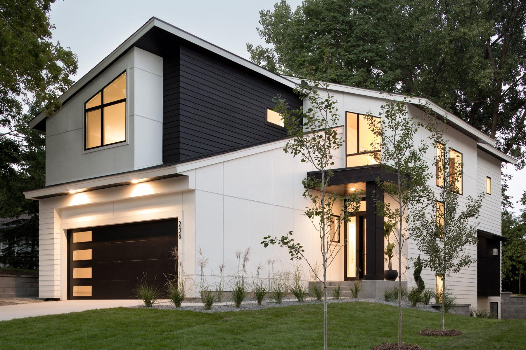 Wayzata Modern Black White Pillar Homes